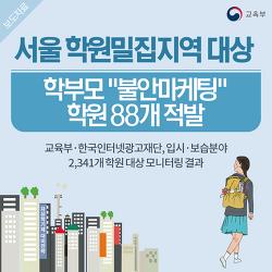 """서울 학원밀집지역 대상 학부모 """"불안마케팅"""" 학원 88개 적발"""