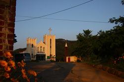 저녁무렵의 포항 시골교회 구지교회