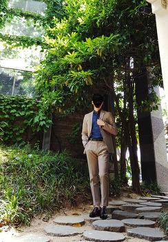 [남자 세미정장 코디 스타일] 남성 정장 브랜드 [올젠] 남자 베이지 자켓 & 바지 코디