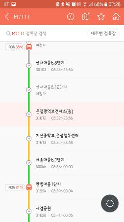 공휴일 엠버스 m7111 출근 동선, 소요시간, 배차시간표