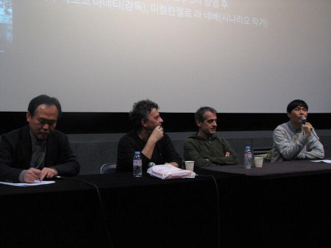 <사랑과 총알을 그대에게> 상영 후  마르코 마네티 감독, 미켈란젤로 라 네베 작가 시네토크