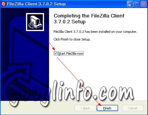 FileZilla 설치 방법, 인스톨 완료 모습