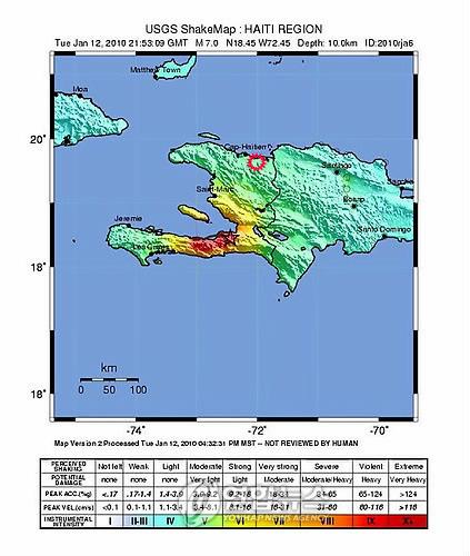 아이티 지진지도