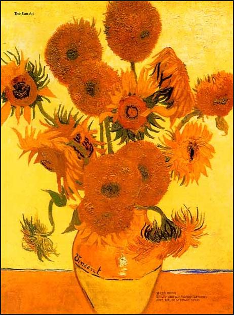 빈센트 반 고흐가 그린 해바라기로 주로 노란색과 주황색으로 그렸고 이것은 고흐에게 희망을 의미하며 기쁨과 설렘을 표현한 색이다. 이 그림으로 인해 태양의 화가라는 호칭이 지어졌다.