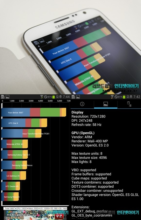 갤럭시노트2 성능 벤치마크 어플 Quadrant 점수
