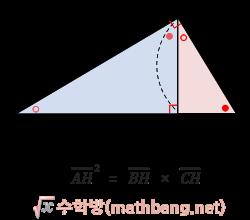 직각삼각형에서의 닮음 3 공식