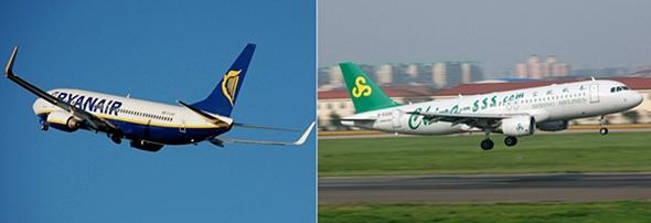 입석 항공권을 판매하겠다고 선언한 라이언에어와 중국 스프링항공