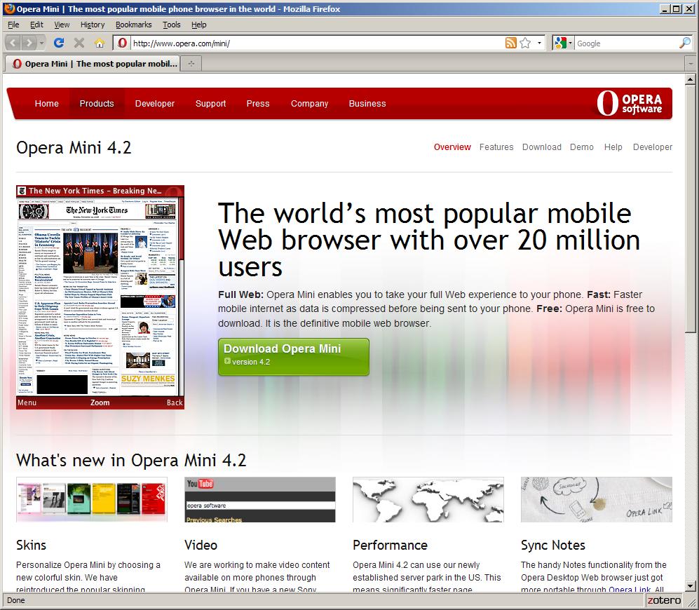 출처 http://www.opera.com/mini/ 에서 화면 캡처