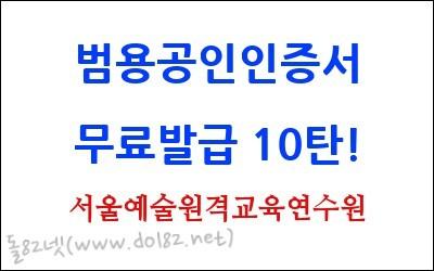 개인 범용공인인증서 무료발급 10탄 - 서울예술원격교육연수원