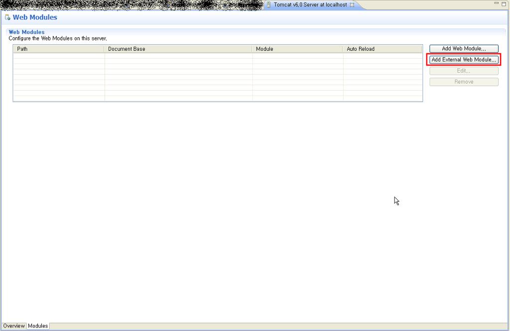 Add External Web Module... 클릭
