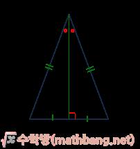 이등변삼각형의 성질 - 꼭지각의 이등분선은 밑변을 수직이등분한다.
