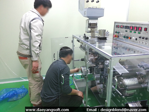 Training buyers for operating automatic blister packing machine for soft gelatin capsules in Korea