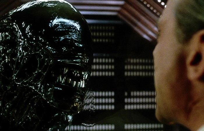 사진: 에일리언의 정면 얼굴. 사악한 인간들의 흉계로 인해 있어서는 안될 외계인 사육이 시작되고, 인간들은 죽음을 맞는다. [영화 에이리언4 결말과 줄거리]