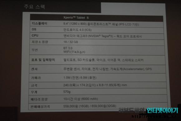 소니 엑스페리아 태블릿S 스펙과 가격