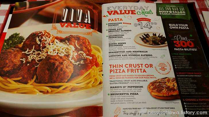 이탈리아 요리 메뉴판 입니다