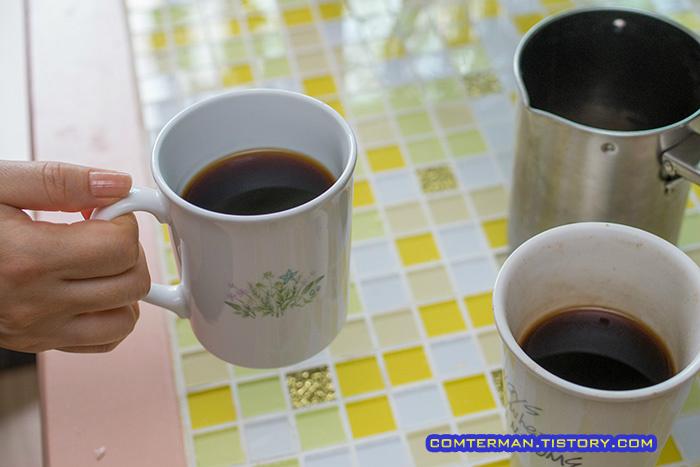 베란다 커피나무 수확 핸드드립