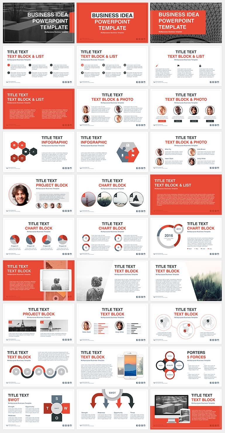 사업계획서 보고용으로 쓰기 좋은 PPT 템플릿 - Free Orange & Grey PowerPoint Template For Business Ideas
