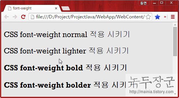스타일 시트 CSS 글자의 두께를 조절하는 font-weight 사용하는 방법