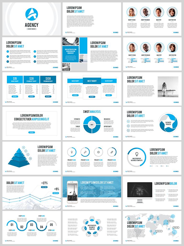 하늘색을 포인트로 사용한 깨끗한 느낌의 PPT 템플릿 - Free Sky Blue PowerPoint Template For Agency