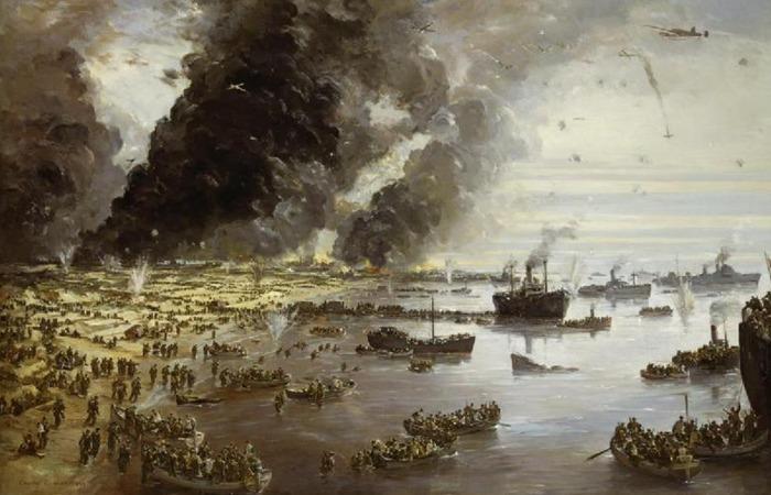 사진: 전투기, 폭격기의 공격 속에서 쫓아오는 기갑부대를 피해 배에 오르는 덩케르크 철수 작전의 장면. 덩케르크의 뜻은 프랑스어로 룅케르크이며 모래 언덕의 교회를 의미한다. [다이나모 작전, 덩케르크의 기적]