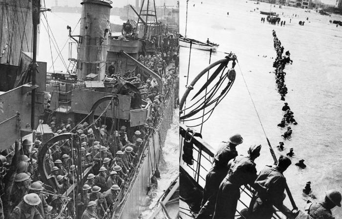 사진: 영화 덩케르크는 실화인 덩케르크 철수작전을 그렸다. 이 사진은 무기를 버리고 탈출하는 프랑스, 영국, 벨기에 병사들을 담은 사진이다. [다이나모 작전, 덩케르크의 기적]