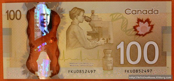 화폐로 알아보는 캐나다 역사 문화 100달러 지폐