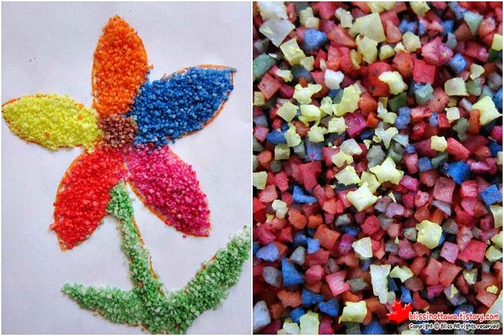 엄마표 유아 미술놀이 색깔 소금으로 꽃 만들기