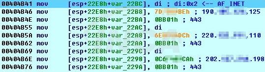[그림] C&C 서버 IP 및 PORT 정보