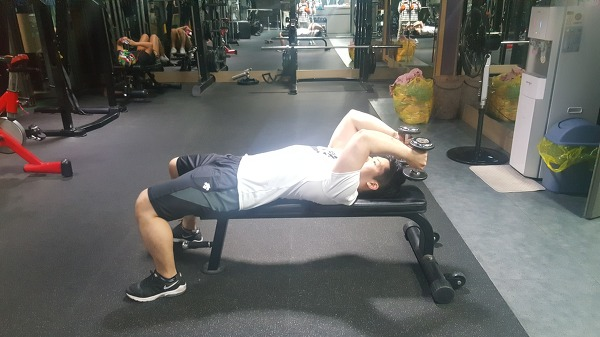 덤벨 라잉 트라이셉스 익스텐션(Dumbbell lving triceps extension)