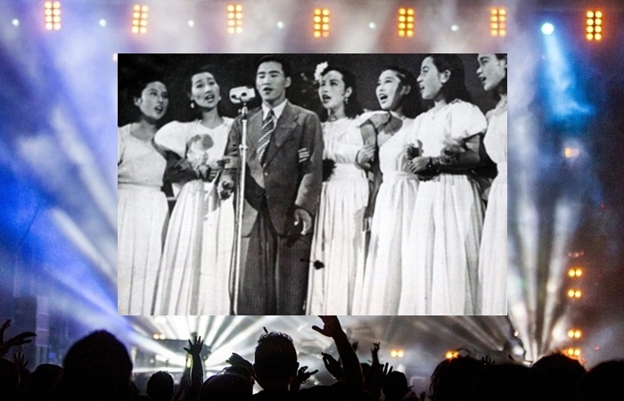 사진: 눈물 젖은 두만강으로 유명한 김정구와 공연하는 저고리시스터즈의 모습. [한국 최초의 원조걸그룹 저고리시스터즈]