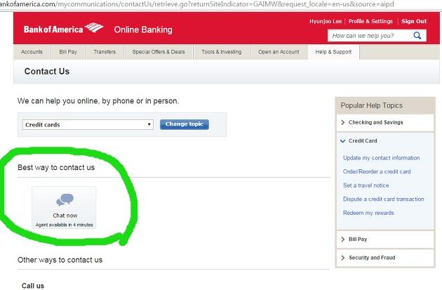 한국에서 Bank of America 신용카드 Close하기 : Online Chatting 기능 이용/ 한국어 서비스 전화번호