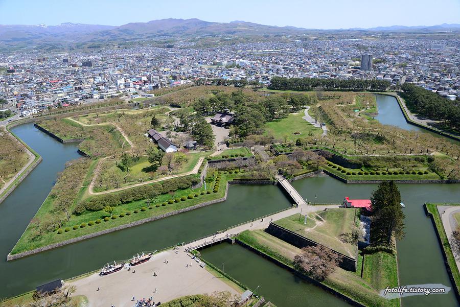 [일본/하코다테] 고료카쿠 타워에서 내려다 본 고료카쿠 공원과 하코다테 시가지 풍경