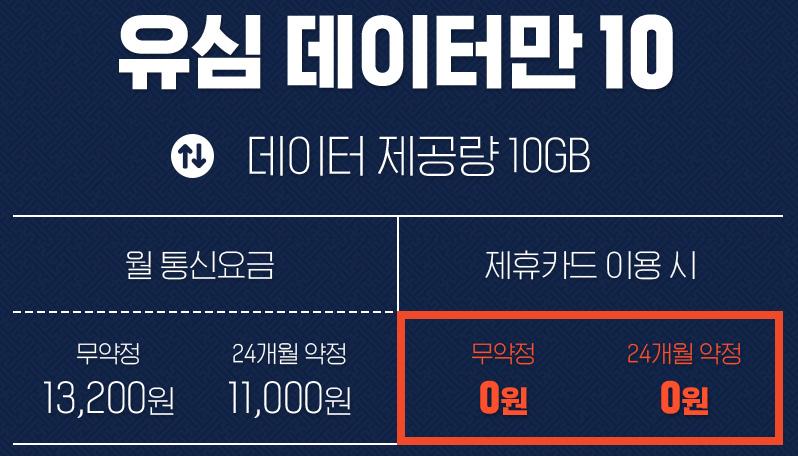 U+알뜰모바일 유심 데이터만 10