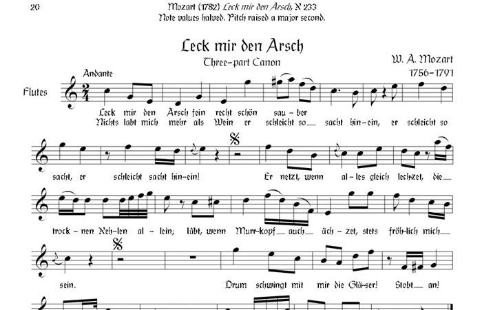 모차르트가 작곡한 캐논의 악보. 이 곡의 이름은 <Leck mich im Arsch>이다. 직역하면 항문을 빨아달라는 뜻이라고 한다. 하지만 제목을 보지 않고 음악만 듣는다면, 모차르트 변태설은 믿기지 않는 주장으로 들릴 정도이다. [모차르트의 분변음욕증(스카톨로지)]