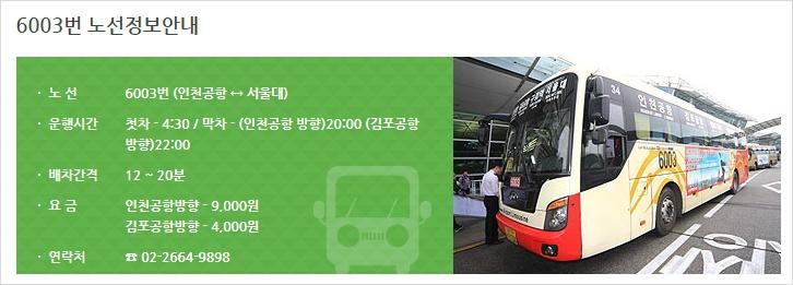 공항버스 6003 운임가격