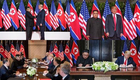 트럼프-김정은 '세기의 첫 악수, '역사적 출발'에 만족