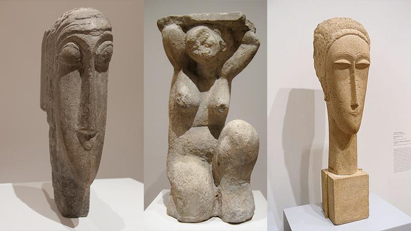 사진: 모딜리아니의 두상과 여인상 조각들.