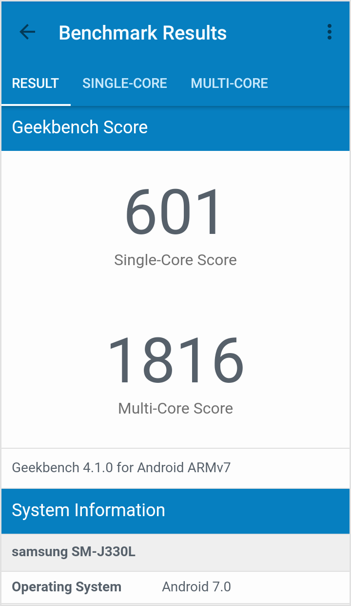 갤럭시 J3 2017 Geekbench 점수