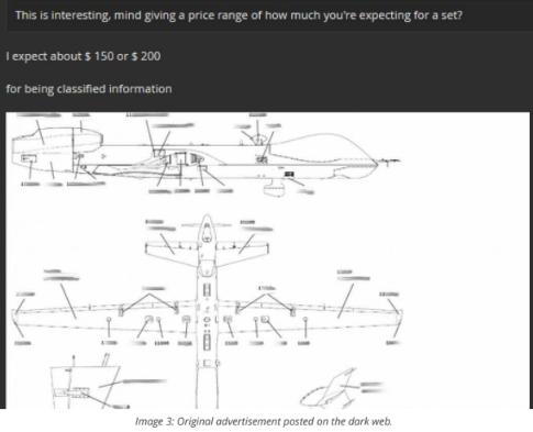 딥웹에서 미공군 무인공격기 정보가 단돈 200달러에 팔리다