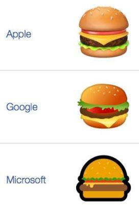 구글의 햄버거 이모티콘만 패티 밑에 치즈가 깔렸다